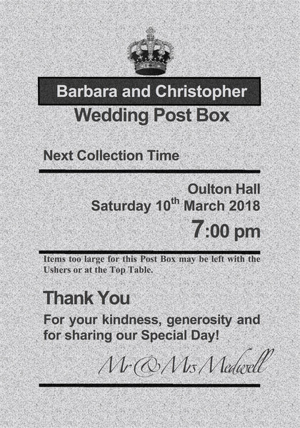Personalised Royal Mail Post Box Silver & Ivory Wedding Card