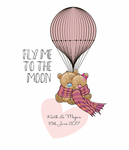 LOVE BEAR ON AIR BALLOON PRINT - PERSONALISED WEDDING, ANNIVERSARY, ENGAGEMENT PRINT