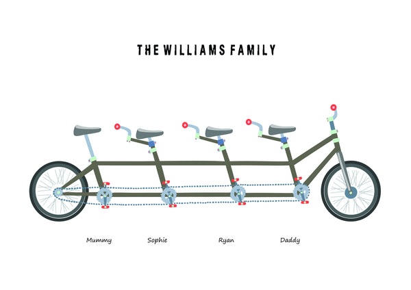 'BICYCLE' FAMILY PRINT - BUILD YOUR OWN PERSONALISED FAMILY PRINT