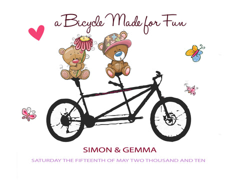LOVE BEAR ON A BICYCLE PRINT - PERSONALISED WEDDING, ANNIVERSARY, ENGAGEMENT PRINT