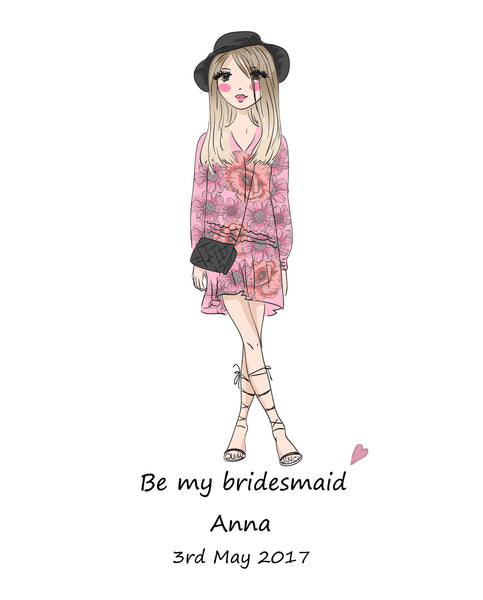 BE MY BRIDESMAID FLOWER GIRL MAID OF HONOR WEDDING INVITATION PRINT