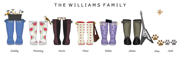PERSONALISED FAMILY WELLIES - PANORAMIC CANVAS PRINT & FRAMED