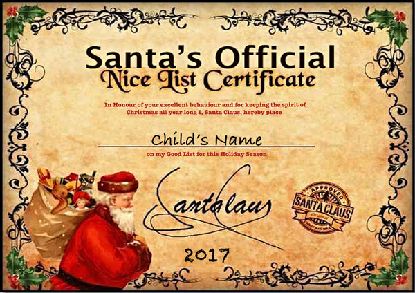 Personalised Christmas Santa 'Nice List' Certificate