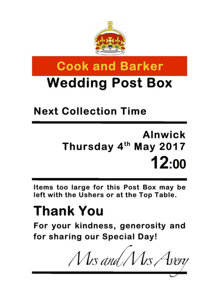 Personalised Royal Mail Post Box Wedding Card Your