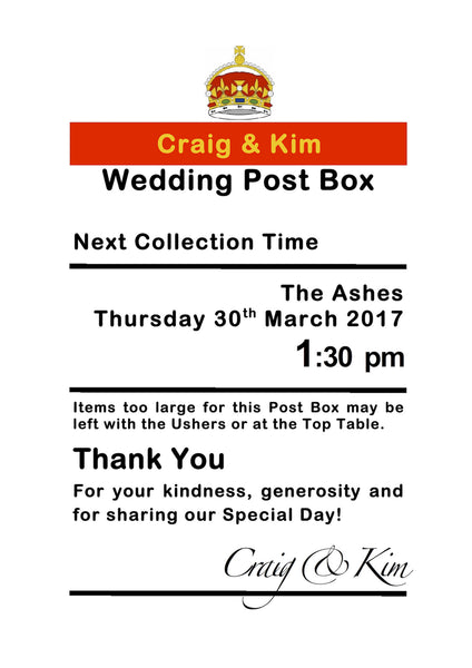 Personalised Royal Mail Post Box Wedding Card - ANY SIZE