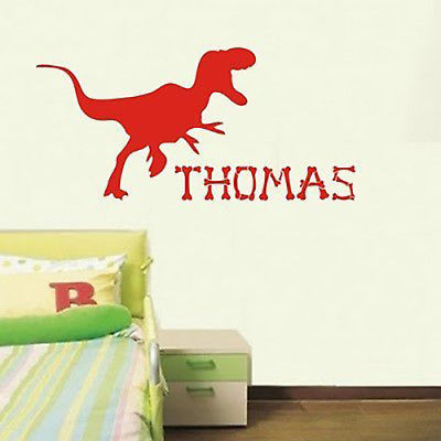 Personalised Childrens Dinosaur Wall Sticker Decal for Boy's Bedroom