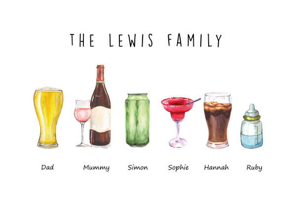 PERSONALISED FAMILY DRINKS PRINT - BUILD YOUR OWN FAMILY DRINK SELECTION GIFT