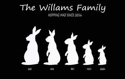 FAMILY BUNNY RABBIT PRINT - CREATE YOUR OWN PERSONALISED PRINT