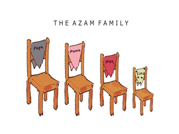 FAMILY CHAIR PRINT - BUILD YOUR OWN CUTE FAMILY PRINT