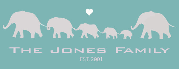 FAMILY ELEPHANT PRINT WITH HEART - YOUR OWN PERSONALISED PRINT