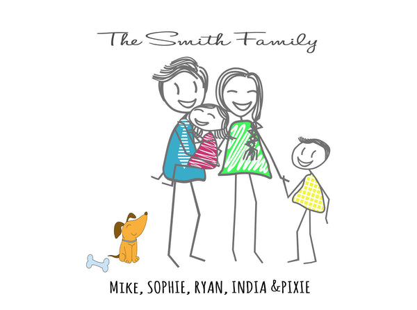 FAMILY CHARACTER ILLUSTRATION PRINT - BUILD YOUR OWN CUTE FAMILY PRINT