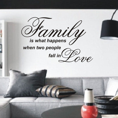 Family is what happens when two people - Wall Art Decals Sticker Quote wa33