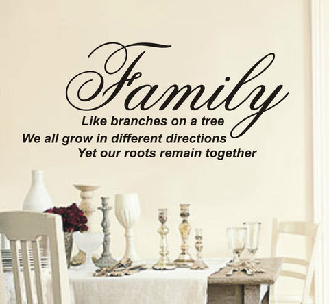 Family like branches on a tree - Wall Art Decals Sticker Quote wa08