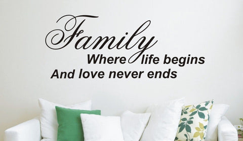 Family where life begins - Wall Art Decals Sticker Quote wa26