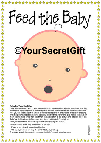 """FEED the BABY"" Shower Game for 20. Ready to play unlike pin the dummy pacifie"