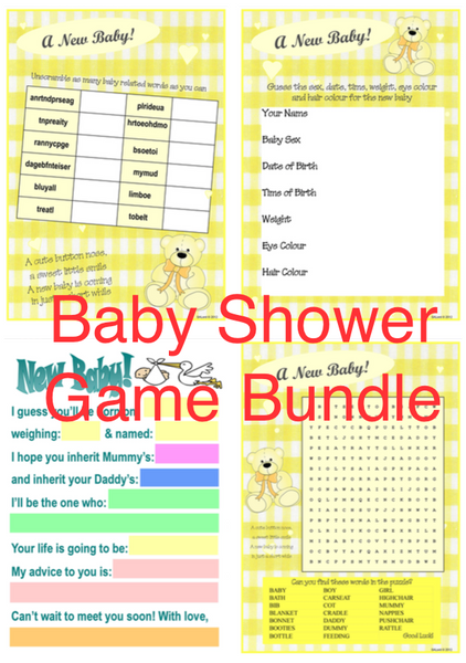 BABY SHOWER GAME BUNDLE - 4 FUN Games for 4 players (4 sets each)