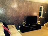 Gunmetal Chunky Glitter Wallpaper Covering Bling Grade 3 (SOLD BY THE METRE)