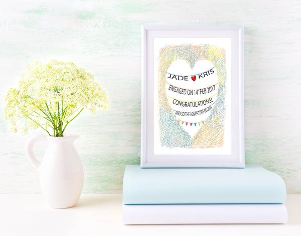 PERSONALISED WEDDING OR ENGAGEMENT HEART PRINT - BUILD YOUR ROMANTIC PRINT