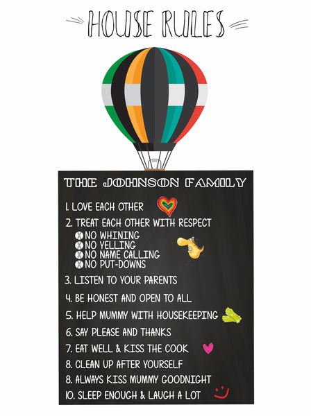 FAMILY HOUSE RULES ON AIR BALLOON - BUILD YOUR OWN FAMILY HOUSE RULES
