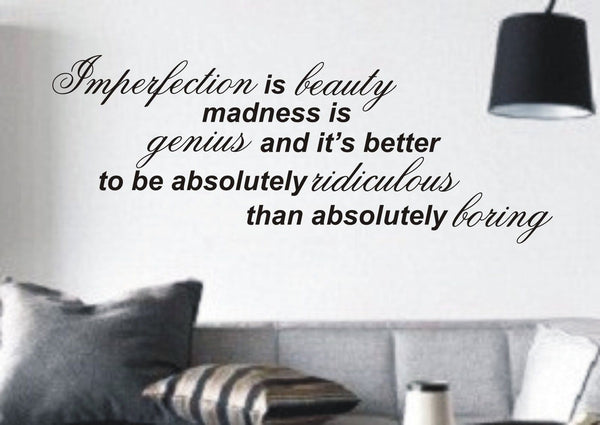 Imperfection is Beauty - Wall Art Decals Sticker Quote wa51