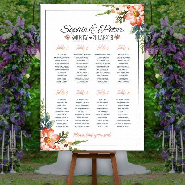 * Personalised Wedding Seating Plan Table Plan - Floral Rose & Neutral Party Theme