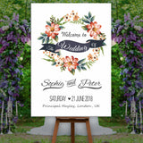 * Personalised Welcome To Our Wedding Sign Poster Floral Pink & Neutral
