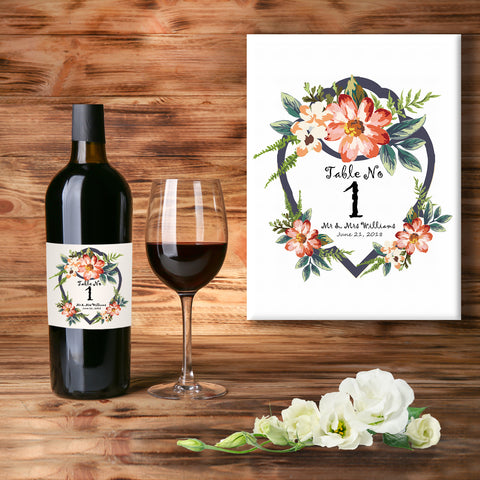 * PERSONALISED WEDDING TABLE WINE LABEL, SPIRIT OR BEER - TABLE NUMBERS