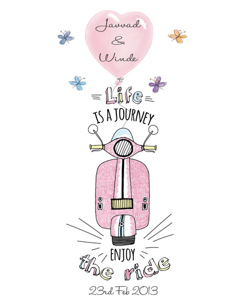 'ENJOY THE RIDE' LOVE PRINT - PERSONALISED WEDDING, ANNIVERSARY, ENGAGEMENT PRINT