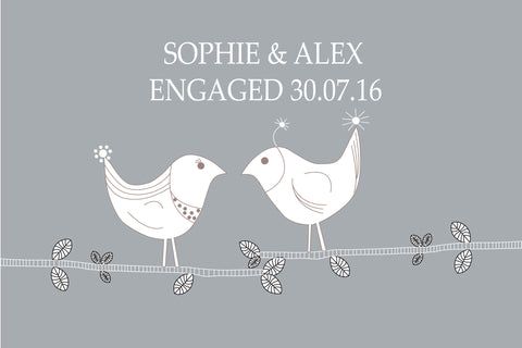 CUTE LOVE BIRDS PRINT - PERSONALISED WEDDING, ANNIVERSARY, ENGAGEMENT PRINT