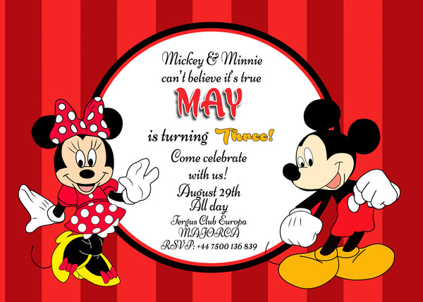 MICKEY MOUSE MINNIE MOUSE PERSONALISED BIRTHDAY PARTY INVITATION x 10 WITH ENVELOPES