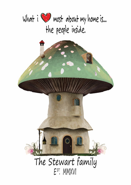 FAMILY MUSHROOM HOUSE PRINT - BUILD YOUR OWN FAMILY HOUSE PRINT