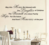 May this home be blessed - Wall Art Decals Sticker Quote wa25