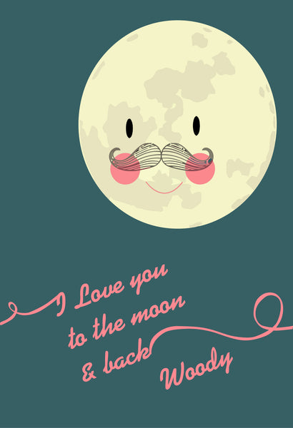 I LOVE YOU TO THE MOON & BACK - PERSONALISED PRINT LOVE CUTE HOME DECORATION