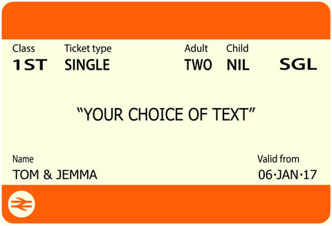 Train Ticket Wedding Insert Card - Save The Date / Wedding / Engagement / Invitation