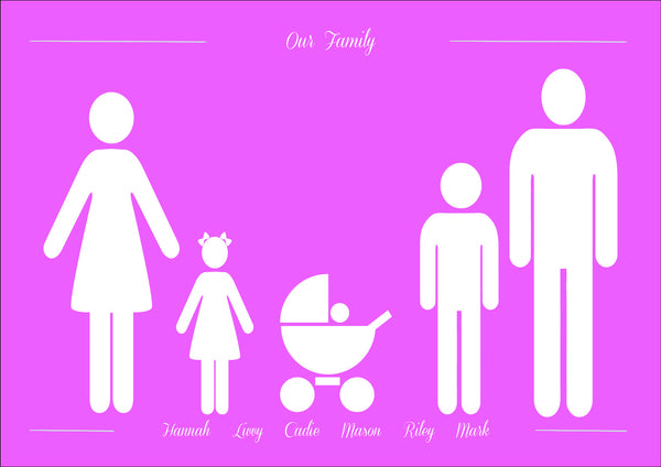 FAMILY & PETS SILHOUETTE PRINT - BUILD YOUR OWN CUTE FAMILY PRINT
