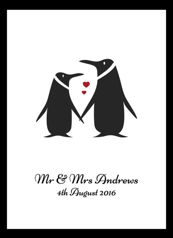LOVE PENGUINS PRINT - PERSONALISED WEDDING, ANNIVERSARY, ENGAGEMENT PRINT