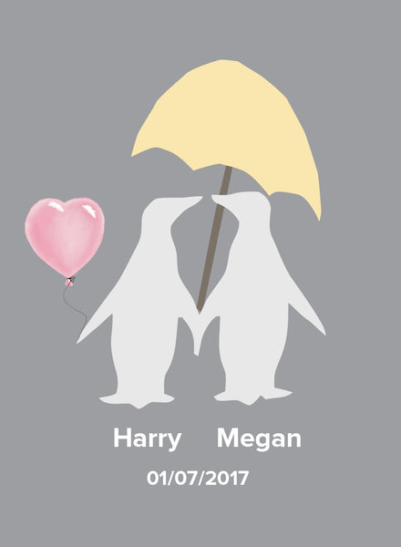 LOVE PENGUINS WITH HEARTS - PERSONALISED WEDDING, ANNIVERSARY, ENGAGEMENT PRINT