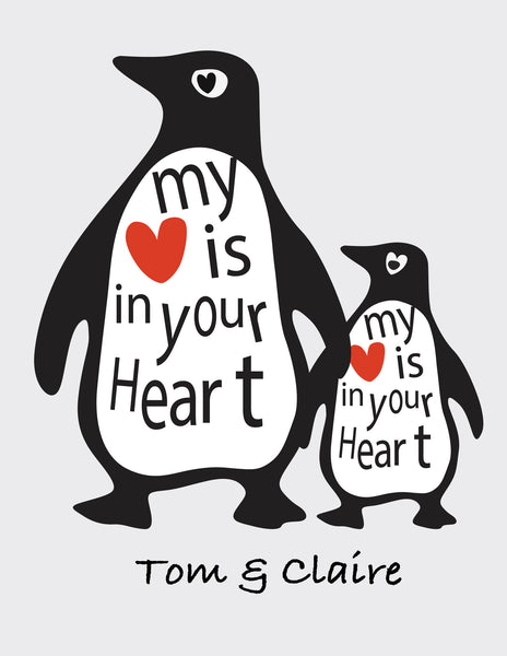 LOVE PENGUINS 'MY HEART IS YOUR HEART' PRINT - PERSONALISED WEDDING, ANNIVERSARY, ENGAGEMENT PRINT
