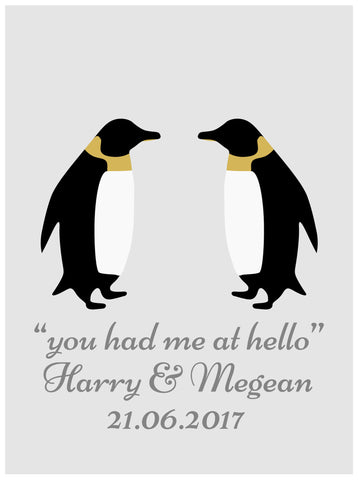 LOVE PENGUINS GOLD PRINT - PERSONALISED WEDDING, ANNIVERSARY, ENGAGEMENT PRINT