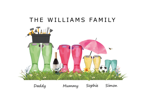'GRASS WELLIES' FAMILY WELLIES PRINT - BUILD YOUR OWN PERSONALISED FAMILY PRINT