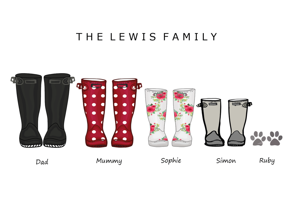 'WELLIES' FAMILY WELLIES PRINT