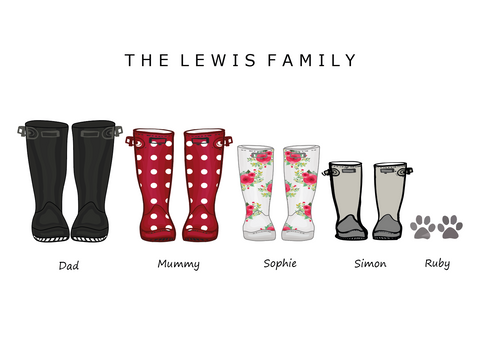 'WELLIES' FAMILY WELLIES PRINT - BUILD YOUR OWN PERSONALISED FAMILY PRINT