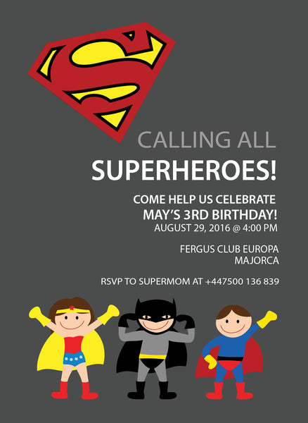 SUPERHEROES PERSONALISED BIRTHDAY PARTY INVITATION x 10 WITH ENVELOPES