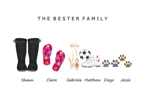 'WELLIES, SLIPPERS & SHOES' FAMILY SHOE & SANDAL PRINT - BUILD YOUR OWN PERSONALISED FAMILY PRINT