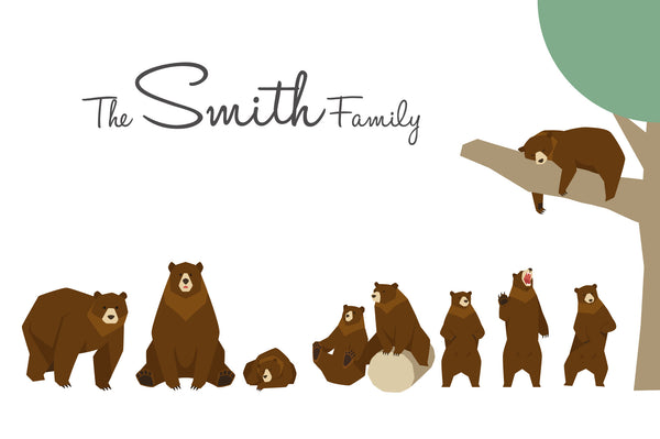 FAMILY BROWN BEAR PRINT - BUILD YOUR OWN CUTE FAMILY PRINT