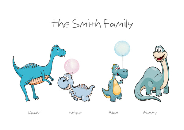 FAMILY DINOSAUR PRINT - BUILD YOUR OWN CUTE FAMILY PRINT