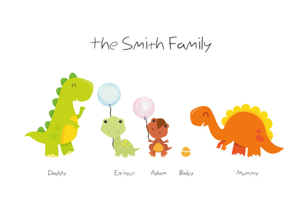 FAMILY DINOSAUR PRINT - BUILD YOUR OWN FUNKY FAMILY PRINT