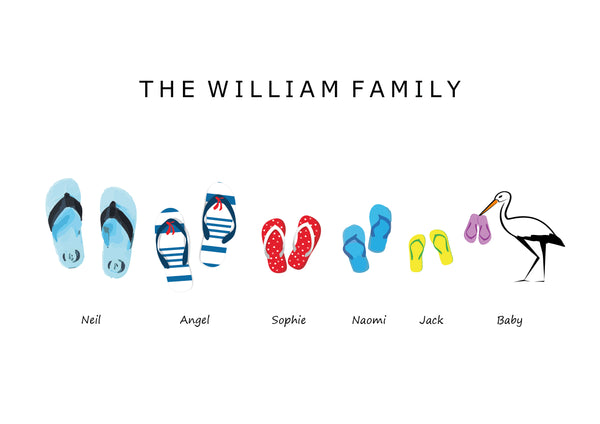 'FLIPFLOPS' FAMILY FLIPFLOP SLIPPERS PRINT - BUILD YOUR OWN PERSONALISED FAMILY PRINT