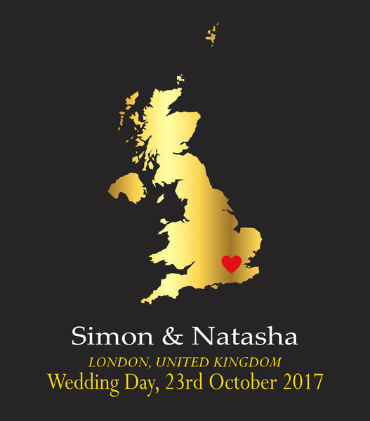 WEDDING LOCATION GOLD MAP PERSONALISED ANNIVERSARY ENGAGEMENT PRINT