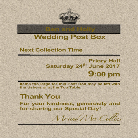 Personalised Royal Mail Post Box Wedding Card Rustic Gold Theme